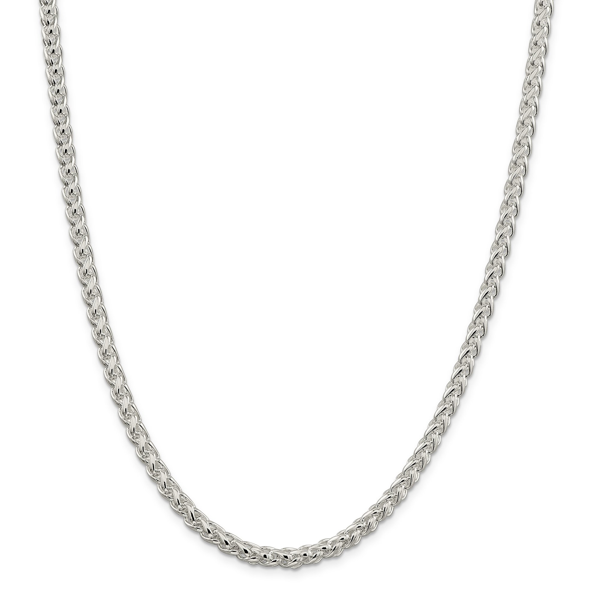 ICE CARATS 925 Sterling Silver 5mm Round Spiga Chain Necklace 24 Inch Wheat Fine Jewelry Gift For Women Heart