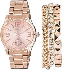 SIX Damen Schmuckset, Accessoire, Armbanduhr, 3 Armbändern, Box, roségoldene Farbe (19-990)