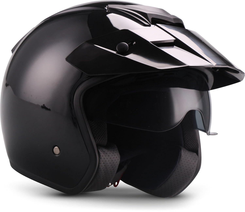 "Soxon  S77 ""Shiny Black"" (Schwarz)  Jet-Helm  Bobber Scooter-Helm Chopper Motorrad-Helm Roller Mofa  ECE zertifiziert  Visier  Extra kleine Helmschale  Click-n-Secure Verschluss  M (57-58cm) Verständig & Lang GmbH S77_SHINY-BLACK_M"