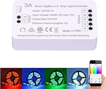 ZigBee RGBW Strip Light Switch Controller for Amazon Echo Plus ZigBee Bridge Hub Alexa Voice Control Smart Phone APP Control RGBW or Single Colour Strip Lights