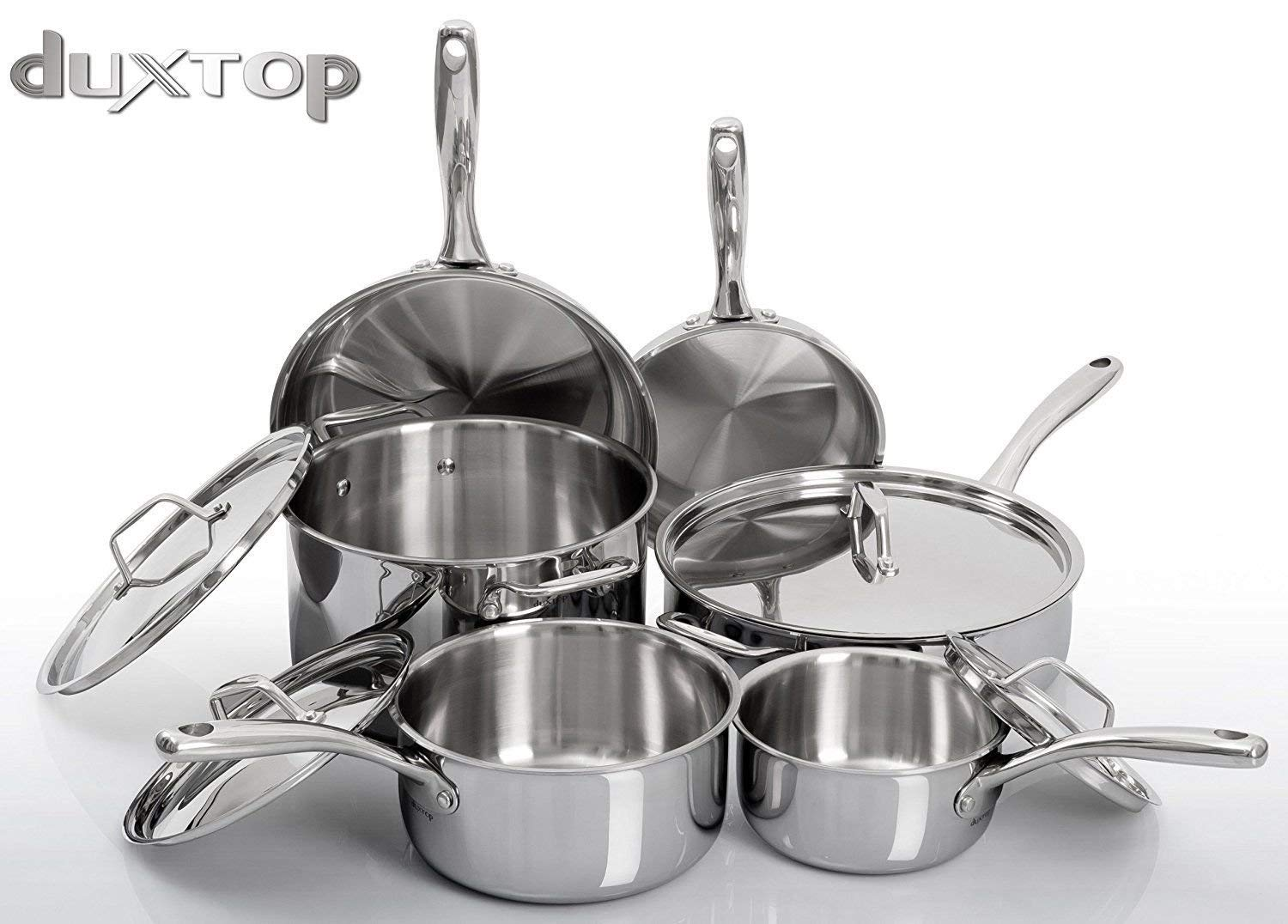 Duxtop Whole-Clad Tri-Ply Stainless Steel Induction Ready Premium Cookware 10-Pc Set Secura duxtop-10PC-1209