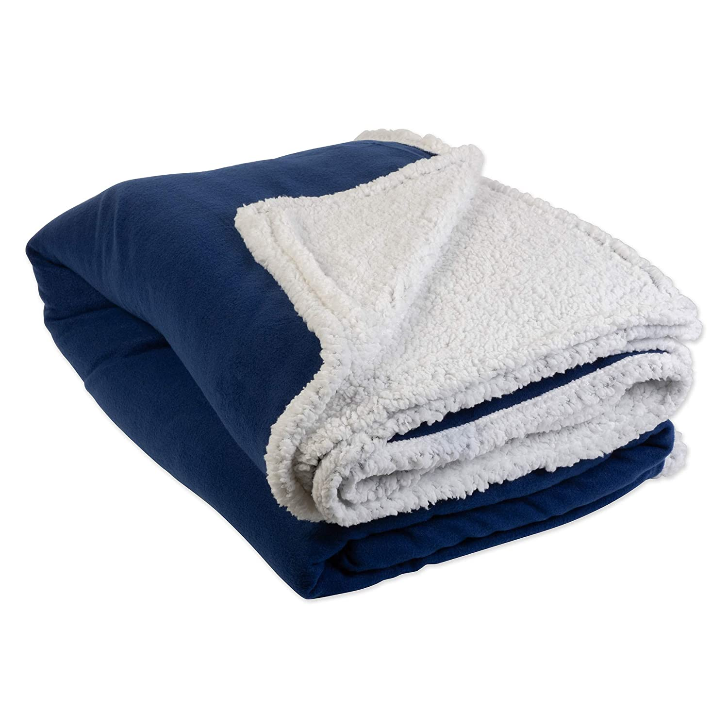 Travel-Patriot Blue J /& M Home Fashions 70046 Chair Reversible Fuzzy Soft Warm Breathable Fluffy for Bed Couch Twin//Twin XL Heavyweight Sherpa Fleece Throw Blanket 60x96 Beach Camping Picnic