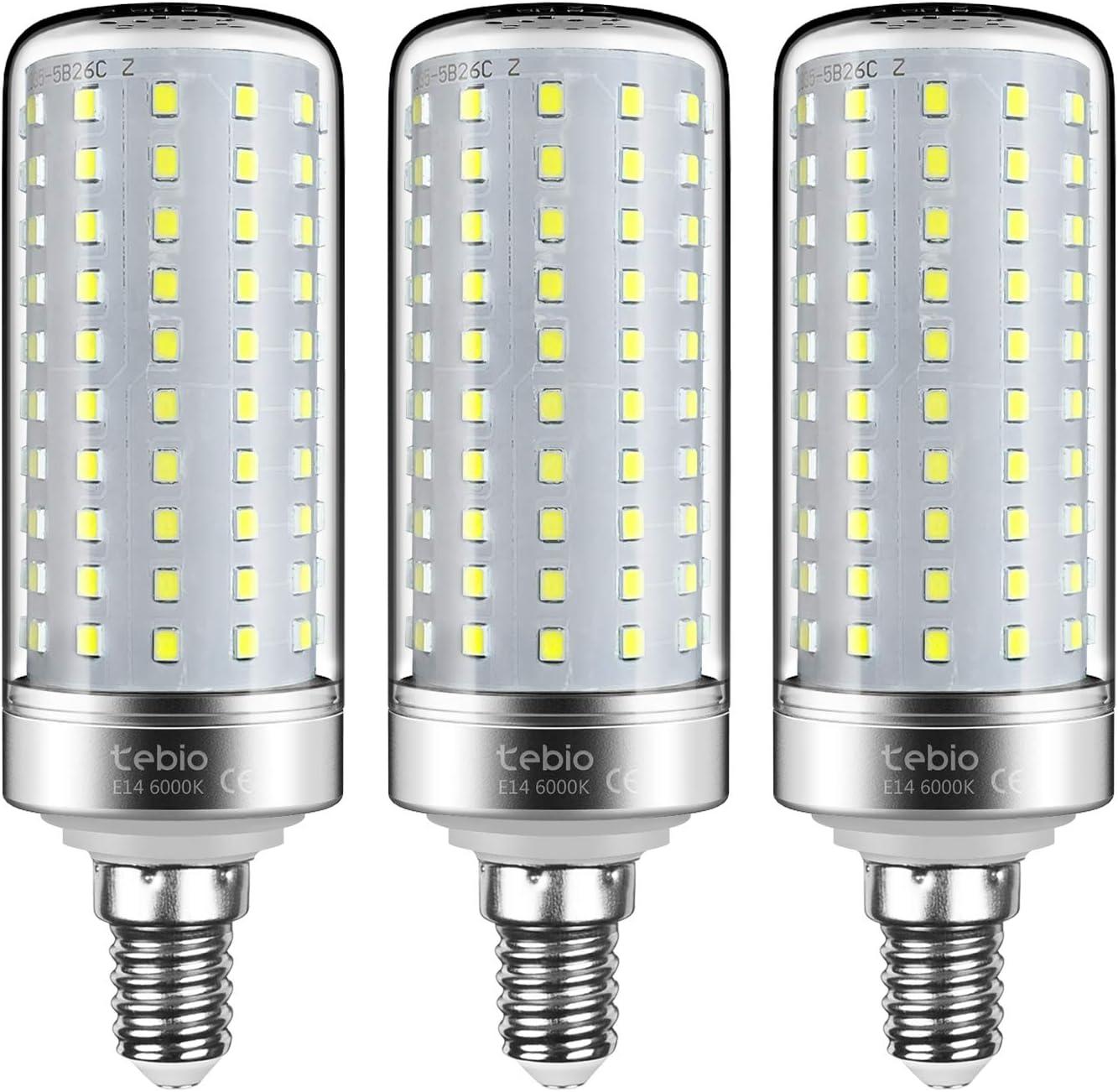 Tebio - Bombilla LED E14 Mais de 25 W, rosca Edison pequeña, 6000 K, luz blanca fría, 200 W, equivalente a bombillas no regulables, 3 unidades
