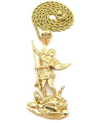 Gold tone saint michael archangel pendant 5mm 30 rope chain gold tone saint michael archangel pendant 5mm 30 rope chain necklace amazon aloadofball Choice Image