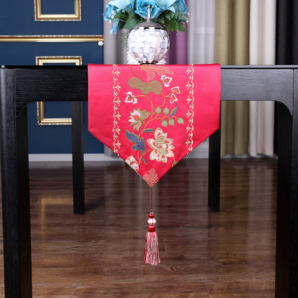 Chinese Embroidery Table Runner,Modern Simple Home Decoration Decorative Table Flag,Tea Table Runner-A 34x240cm(13x94inch) by JIN Tablecloths