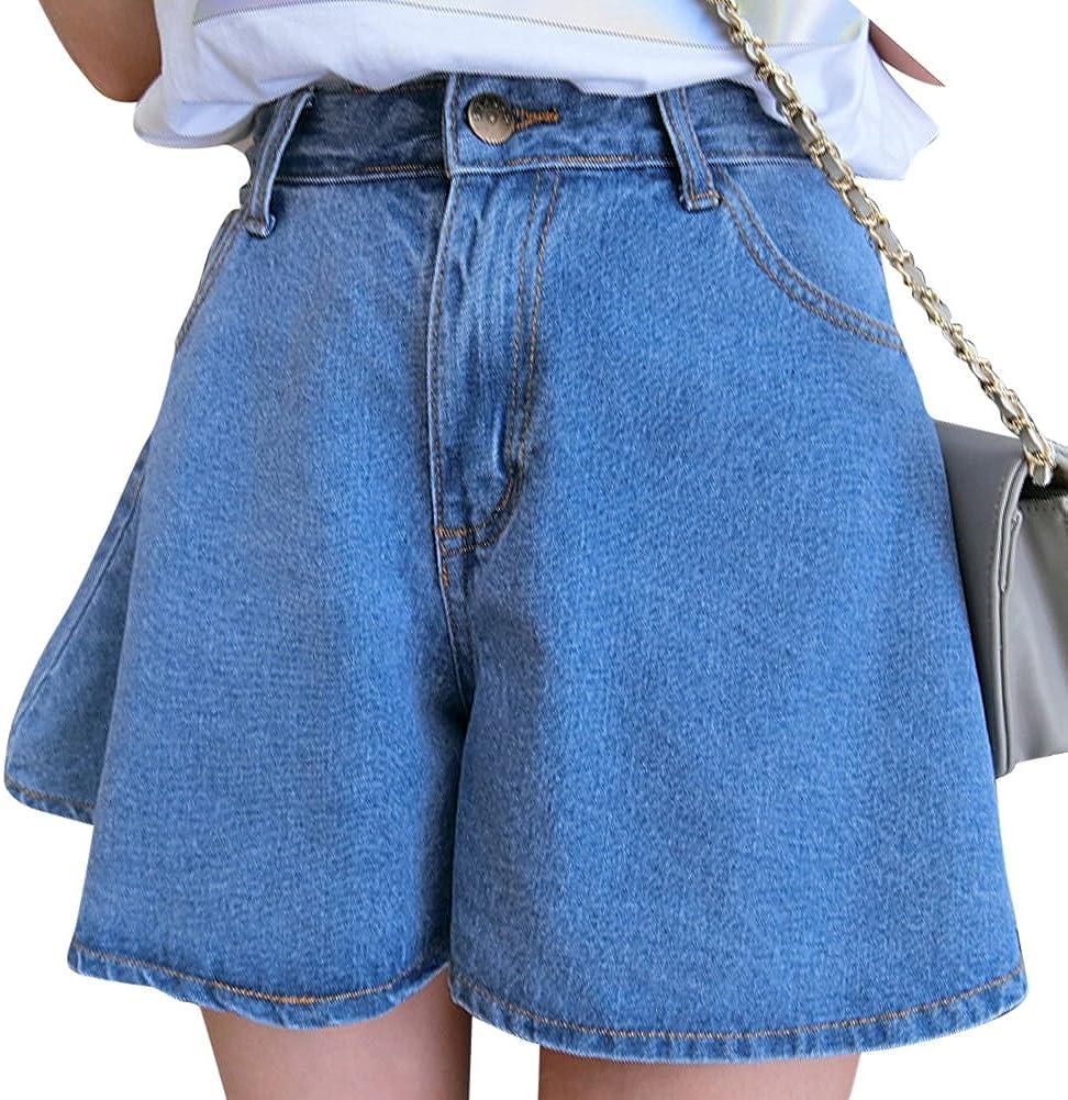 Donna Sciolto Vita Alta Denim Corta Pantaloncini Larghi In Jeans