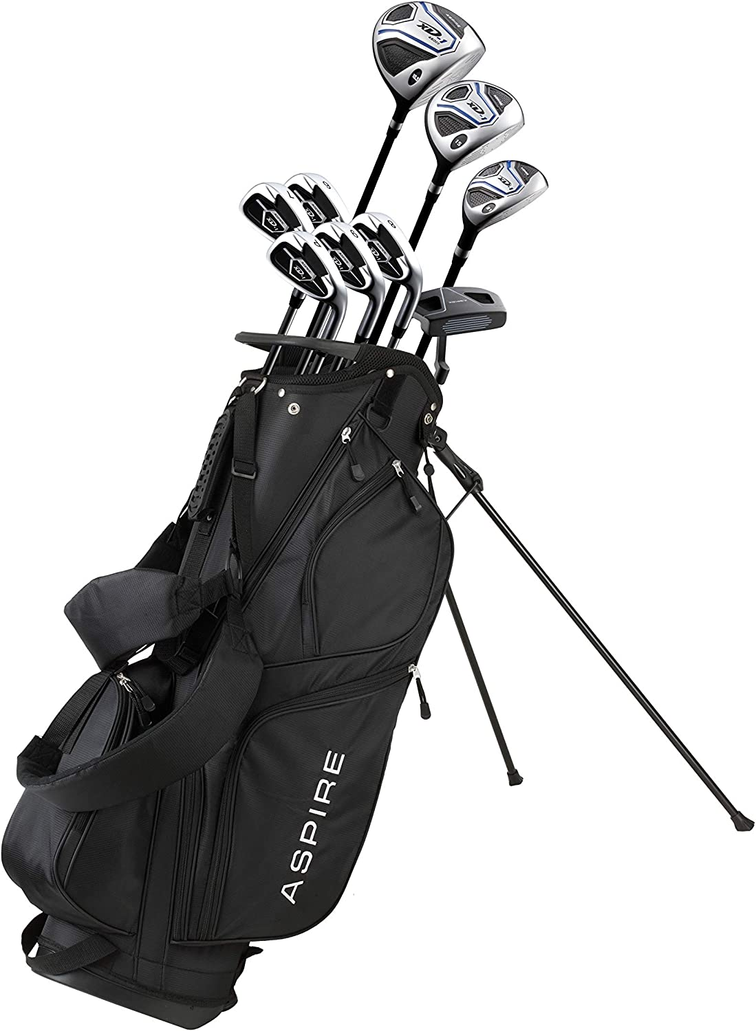 Aspire XD1 Men's Complete Golf Clubs Package Set Includes Titanium Driver, S.S. Fairway, S.S. Hybrid, S.S. 6-PW Irons, Putter, Bag, 3 H/C's Right Hand - Blue - Choose Size!