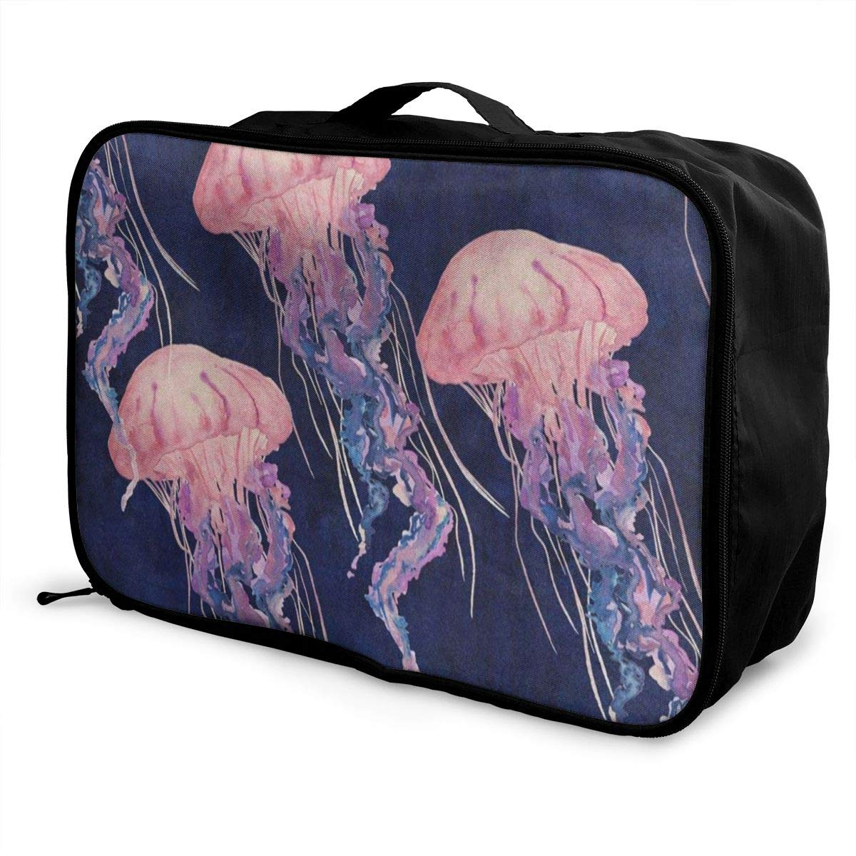 Portable Luggage Duffel Bag Pink Jellyfish Travel Bags Carry-on In Trolley Handle