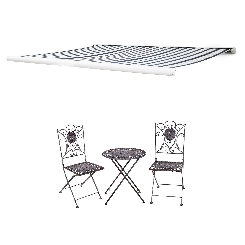 Blumfeldt Capri-Royale Kassettenmarkise 4x3m 280g/m² Acryl schwarz/weiß