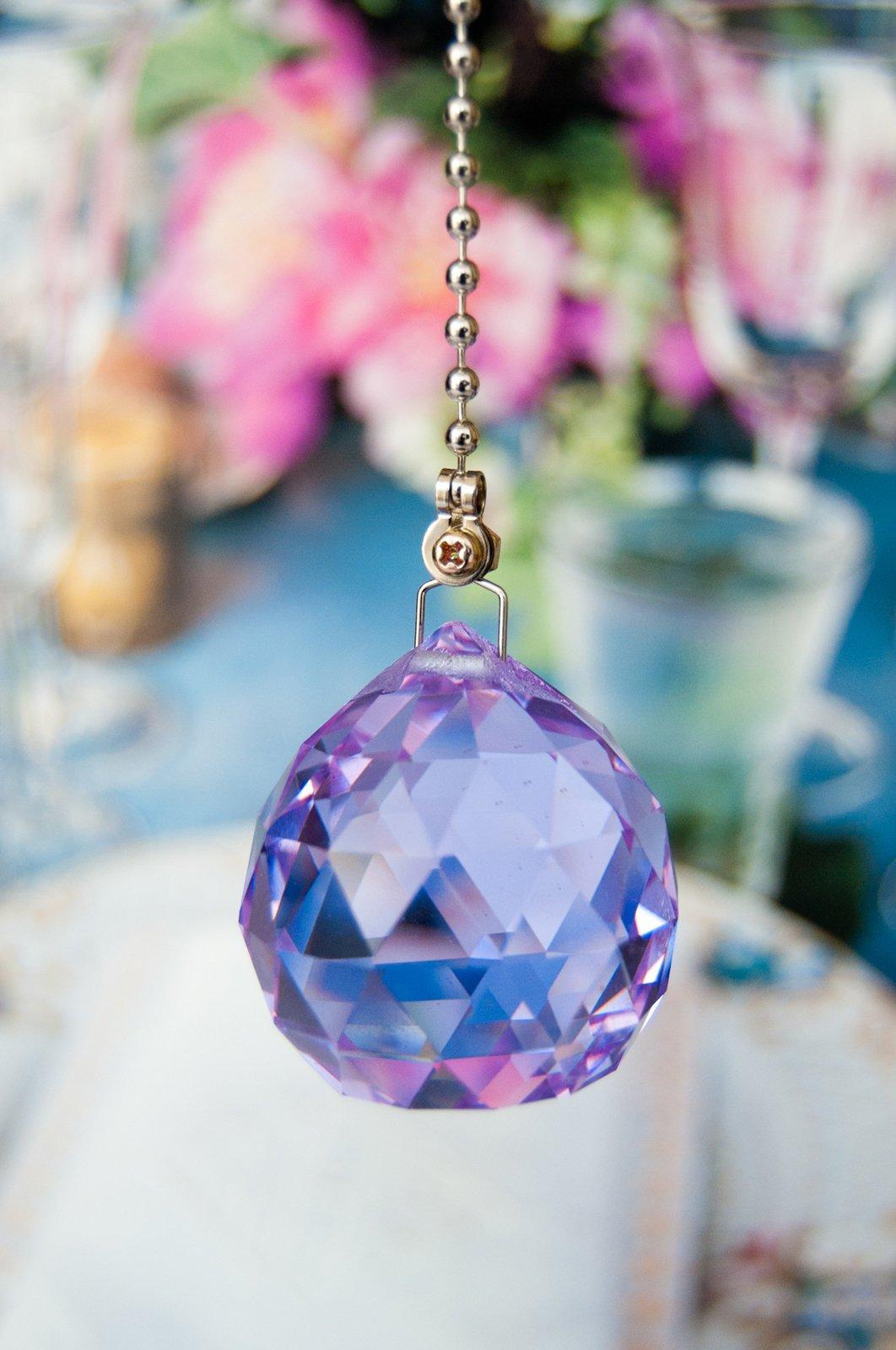 2 of Purple 26% Lead Glass Crystal Ceiling Fan Pulls 40mm