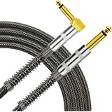 TISINO Guitar Cable, 6ft 1/4 inch TS Right Angle to Straight Guitar Instrument Cord for Electric Guitar, Bass, Amp, Keyboard,