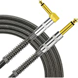 TISINO Guitar Cable, 10ft 1/4 inch TS Right Angle to Straight Guitar Instrument Cord for Electric Guitar, Bass, Amp…