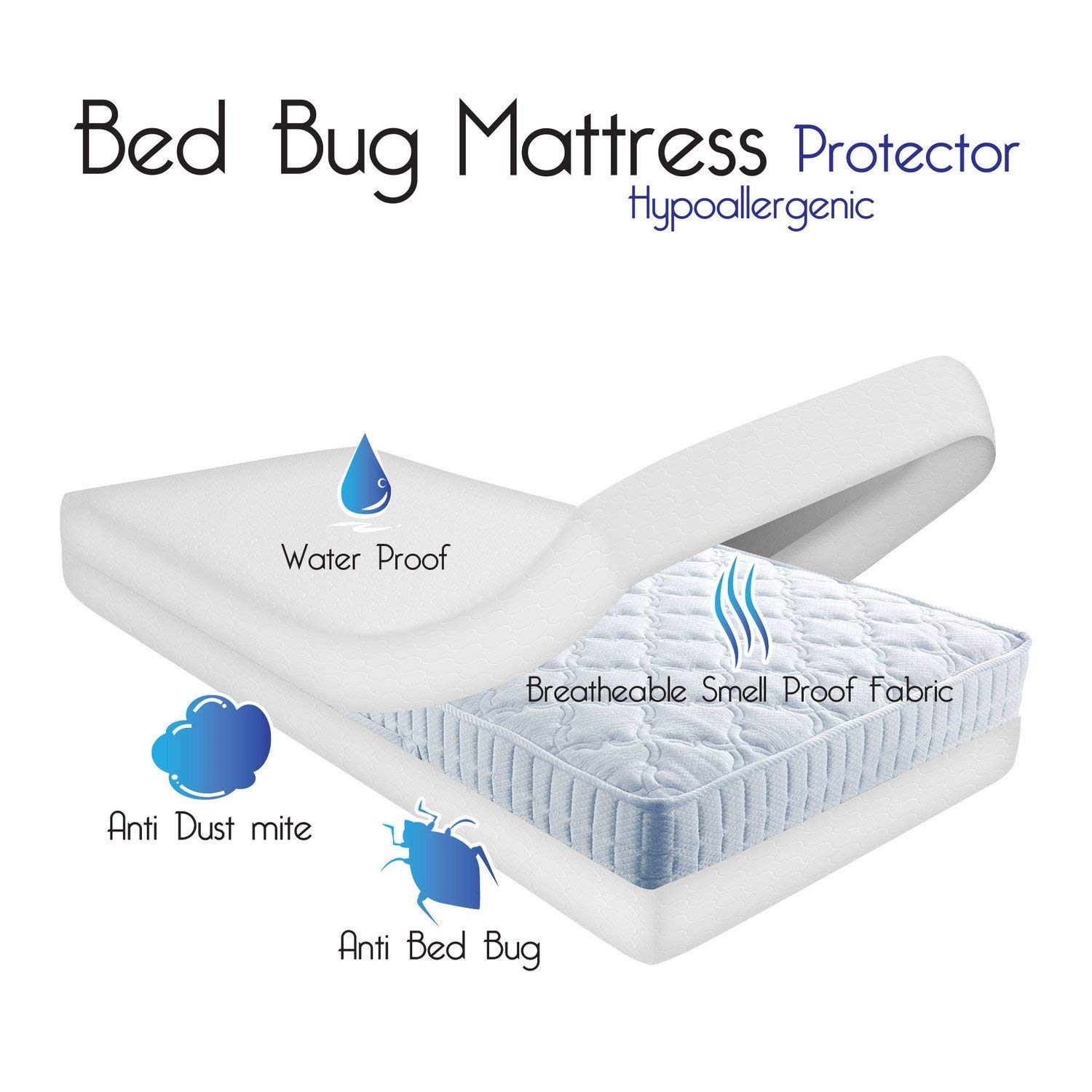 Waterproof Mattress Protector Double Bed Size Zippered Bed Bug