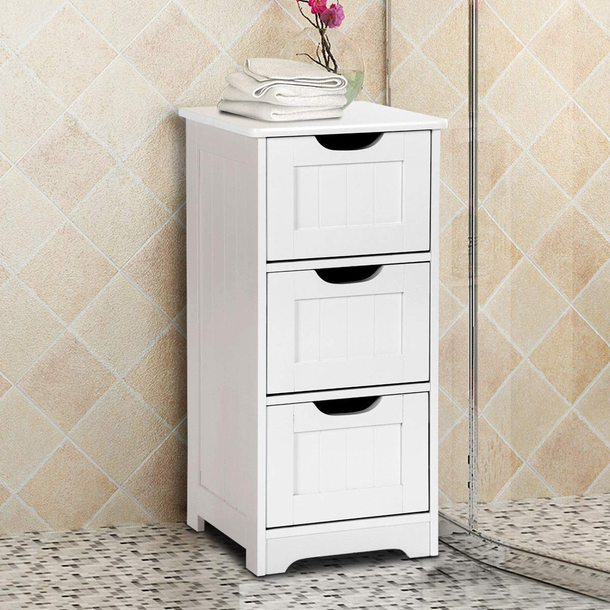 Tangkula Floor Cabinet with 3 Drawers Wooden Storage Cabinet for Home Office Living Room Bathroom Side Table Sturdy Modern Drawer Cabinet Organizer Bedroom Night Stand, White(3 Drawers) by TANGKULA (Image #4)