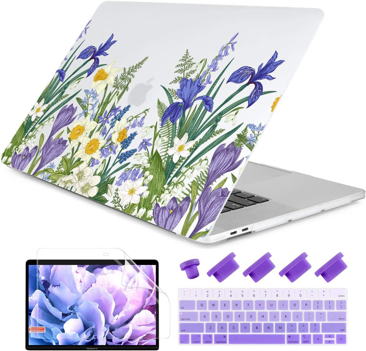 """Dongke MacBook Pro 13 inch Case 2019 2018 2017 2016 Release A2159 A1989 A1706 A1708, Meadow & Floral Frosted Matte Hard Shell Cover & Keyboard Cover Compatible with MacBook Pro 13"""" with/Out Touch Bar"""