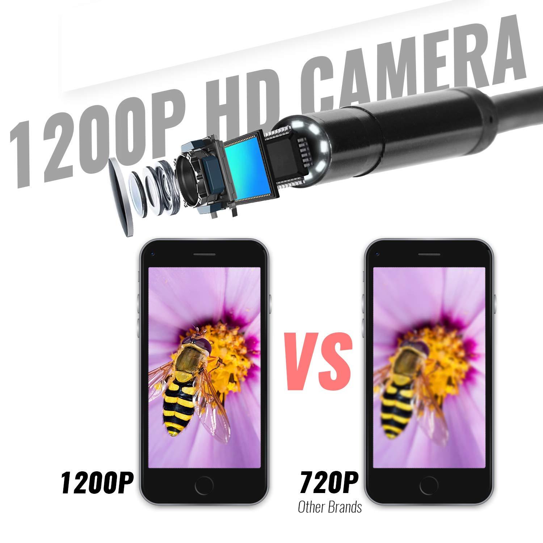 Tablet Impermeabile per iPhone Deyace Telecamera endoscopica WiFi 2.0 Megapixel 1200P HD Senza Fili Smartphone IP67 5M Nuovo Design con Impugnatura nel 2019 Android