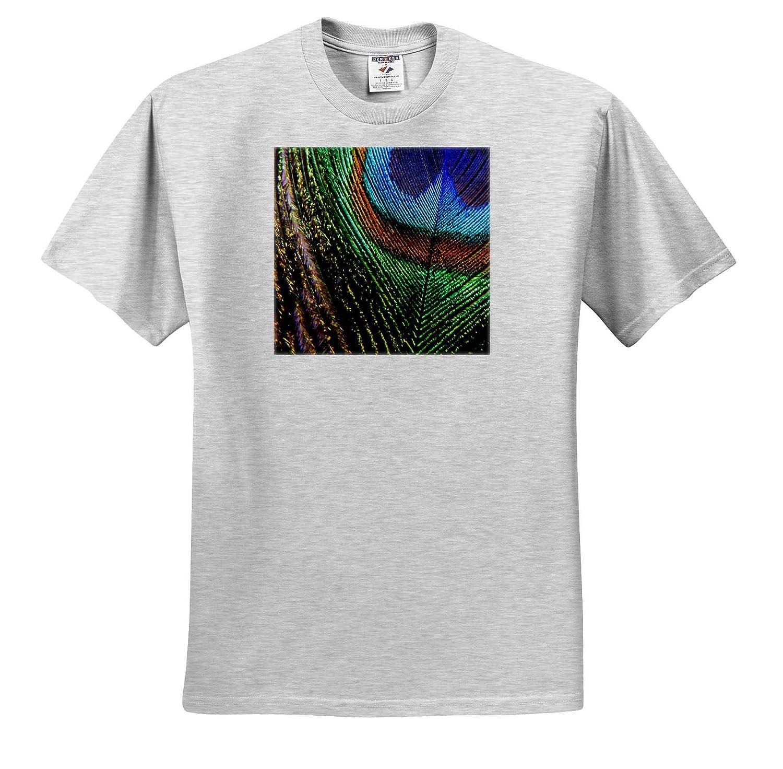 3dRose Russ Billington Photography Close-Up Image of Peacock Feather ts/_312149 Adult T-Shirt XL