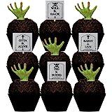 CakeSupplyShop Tombstones & Grabbing Hands Halloween Spooky -12pk Cupcake / Desert / Food Decoration Topper Picks