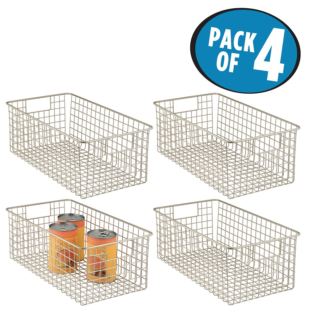 mDesign Wire Storage Basket for Kitchen, Pantry, Cabinet - Pack of 4, Deep, Satin