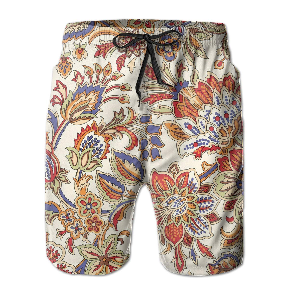 JIA LI Mens Board Shorts Paisley Summer Printed Quick-Dry Swim Trunks Beach Shorts