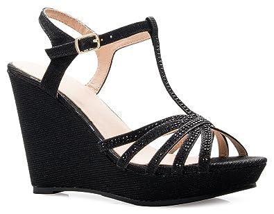 Women's Open Toe Glitter Shimmer T-strap Cage Platform Wedge Sandal