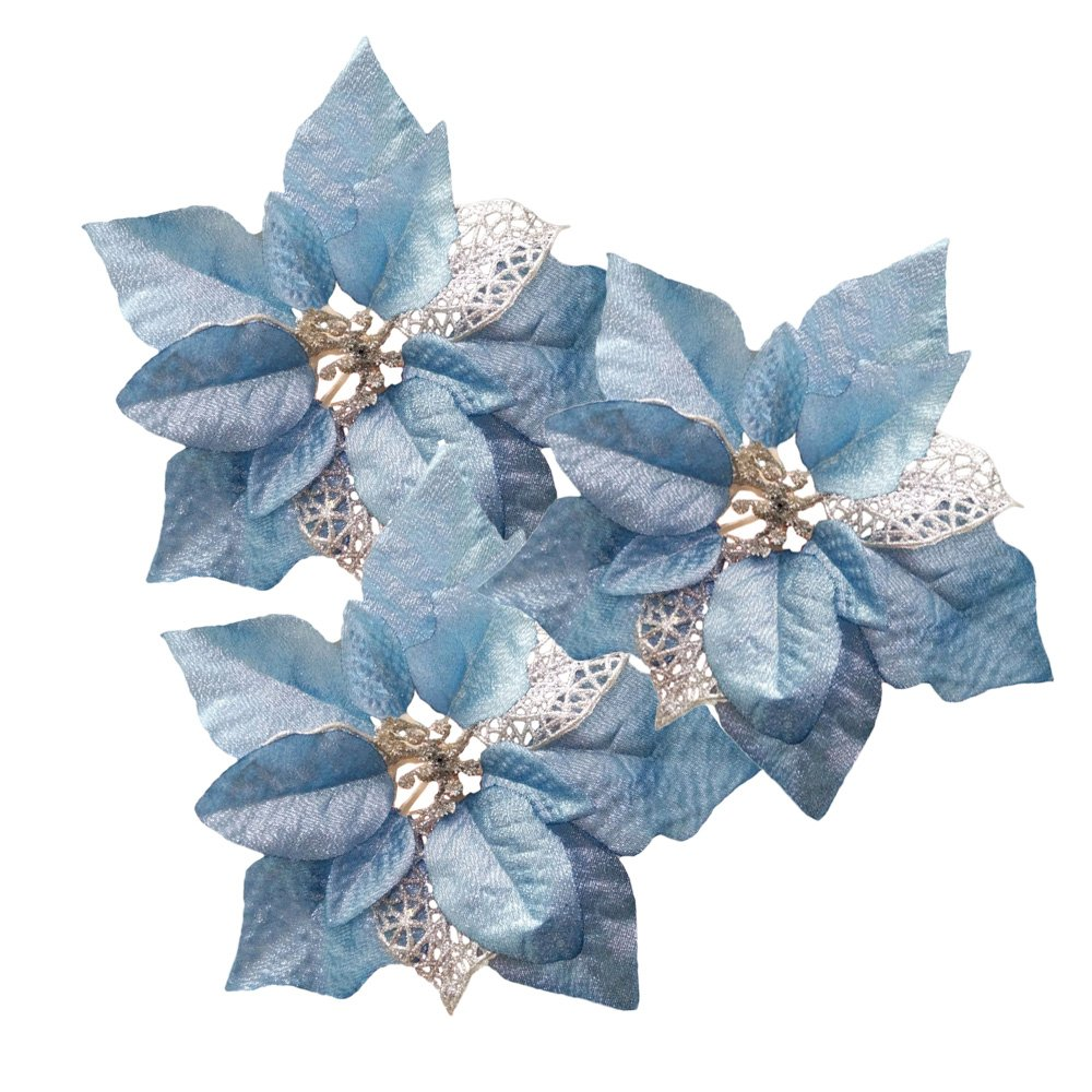 Amazon Blue Pack Of 12 Glitter Artificial Wedding Christmas