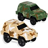 HOMOFY Dinosaur Race Track Replacement Car ( 2 Pack), Electric Light up Military Jeep, Blue Police Car with Compatible with M