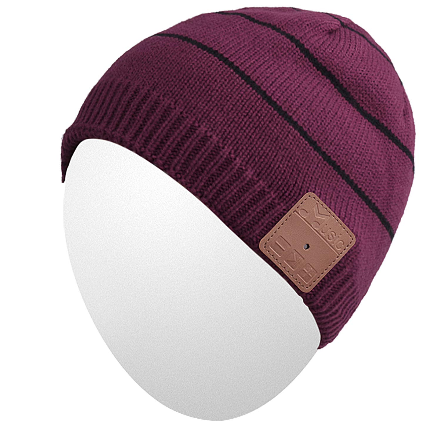 Qshell Washable Winter Mens Womens Hat Bluetooth Beanie Running Cap with Bluetooth Stereo Headphones Mic Hands Free Rechargeable Battery for Outdoor Sports Skating Camping,Christmas Gifts - Red