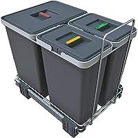 ELLETIPI Ecofil PF01 34B1 kosz na śmieci, rozsuwany do segregacji śmieci, z tworzywa sztucznego i metalu, szary, 30 x 45…