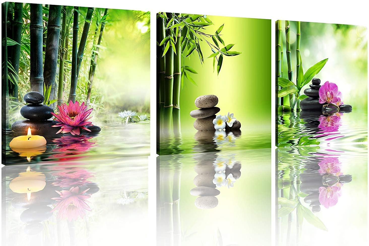 TutuBeer 3 Panels Zen Art Spa Decor Green Bamboo Decor Pink Waterlily and Frangipani Pictures Spa Decor for Bathroom Zen Canvas Painting Prints Art Zen Picture for Home Decor Decoration,Ready to Hang