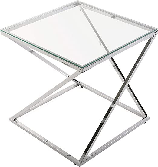 Versa 18790431 Mesa auxiliar Trento cuadrada cristal/metal ...