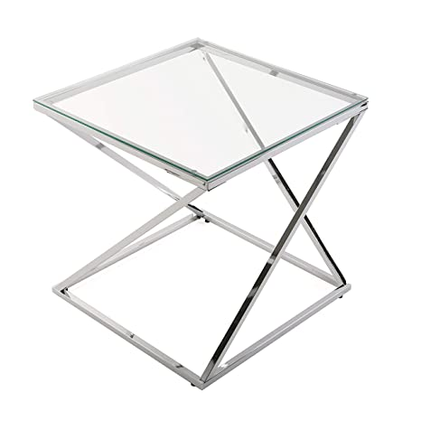 Versa 18790431 Mesa auxiliar Trento cuadrada cristal/metal, plateado,51x51x51cm