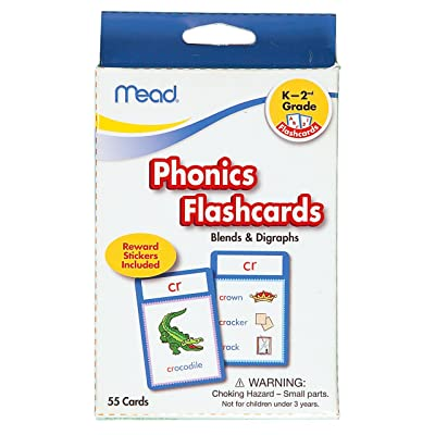 Mead Flashcards, Phonics, Grades K-2, 3.62 x 5.25 Inches, 55 Cards (63144): Office Products