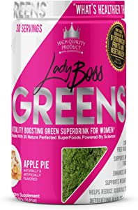 Premium VITALIZING Green SUPERDRINK for Women - LADYBOSS Greens - 35 of Nature's Most Potent SUPERFOODS - Apple Pie - Boost Your Body's Natural Energy & Wellness MECHANISMS