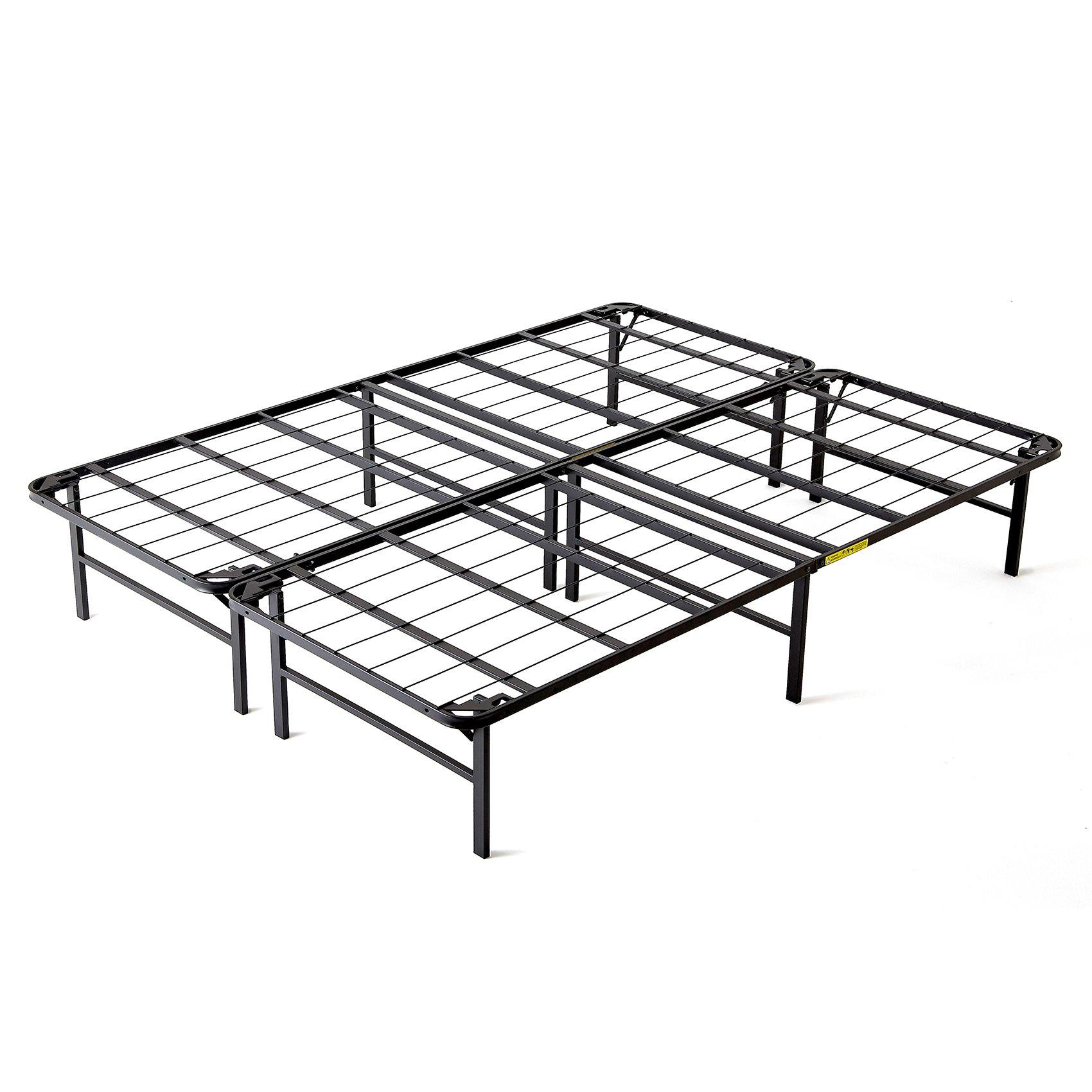 intelliBASE Lightweight Easy Set Up Bi-Fold Platform Metal Bed Frame, Full by intelliBASE