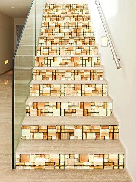 13pcs pegatinas de escalera Calcomanía autoadhesiva de azulejo para escaleras Decoración extraíble para escaleras de bricolaje Fondo de pantalla de decoración del hogar Para Baño Cocina Dormitorio: Amazon.es: Hogar