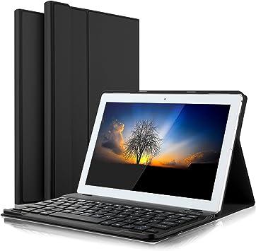 IVSO Teclado Estuche para Lenovo Tab4 10 [QWERTY], Slim Stand Funda con Removible Wireless Teclado para Lenovo Tab 4 10 / Lenovo TAB4 10 (No para ...