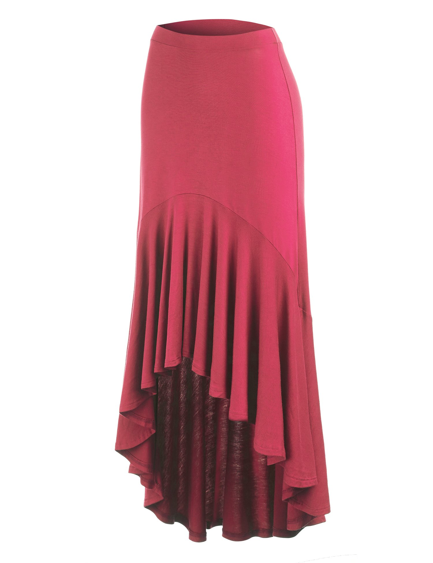 Made By Johnny WB1132 Womens Asymmetrical High Low Ruffle Hem Skirt S Coral
