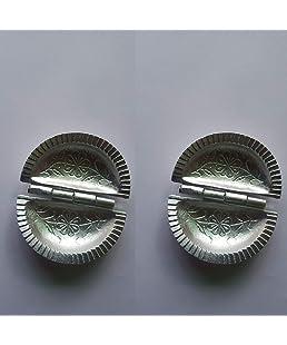 CHAMPRITI Aluminium gujia Mould Sancha Silver,9 cm - Set of 2 pcs