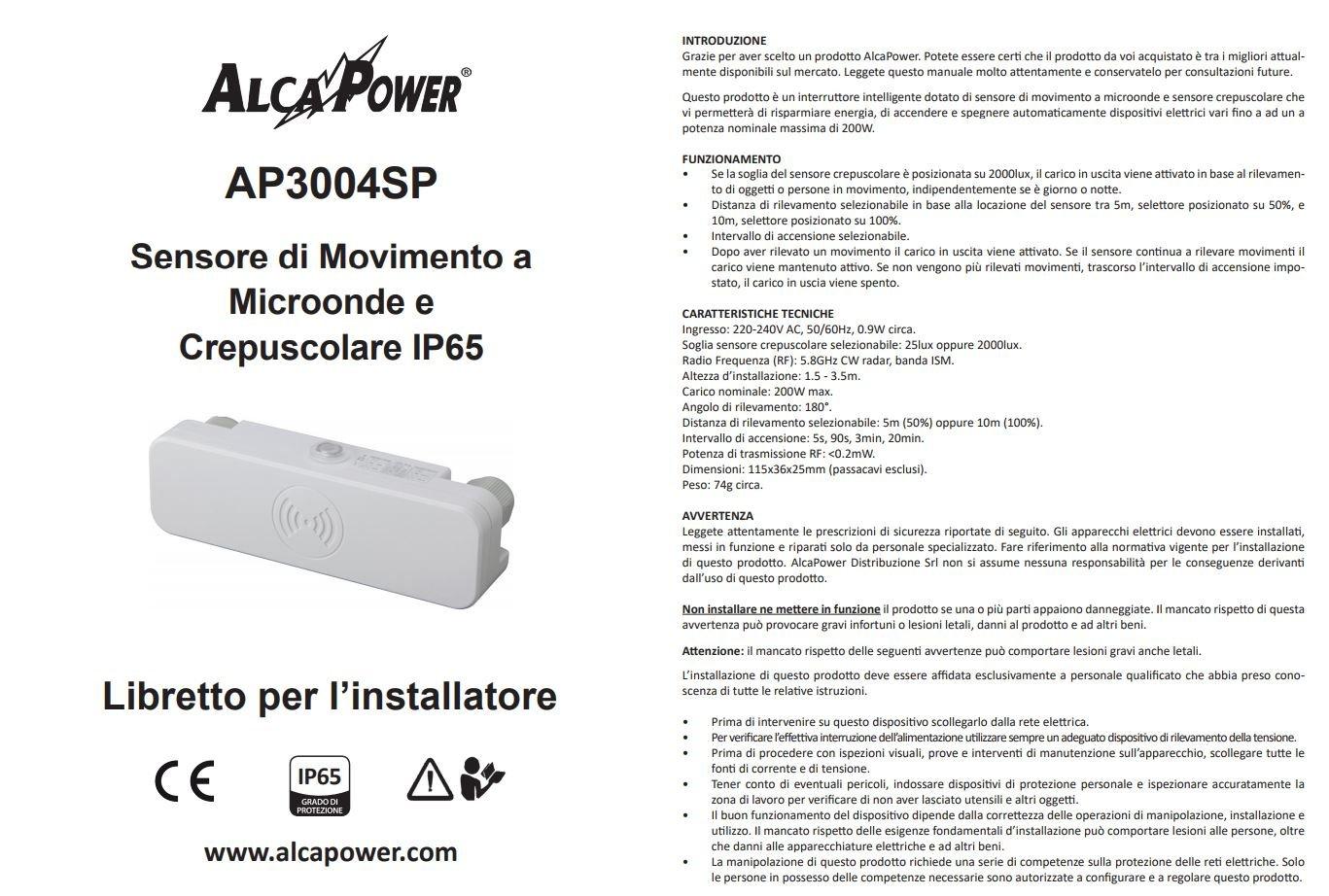 Sensor/detector de movimiento y sensor crepuscular IP65 por microondas - Ángulo de detección de 180 grados.: Amazon.es: Electrónica