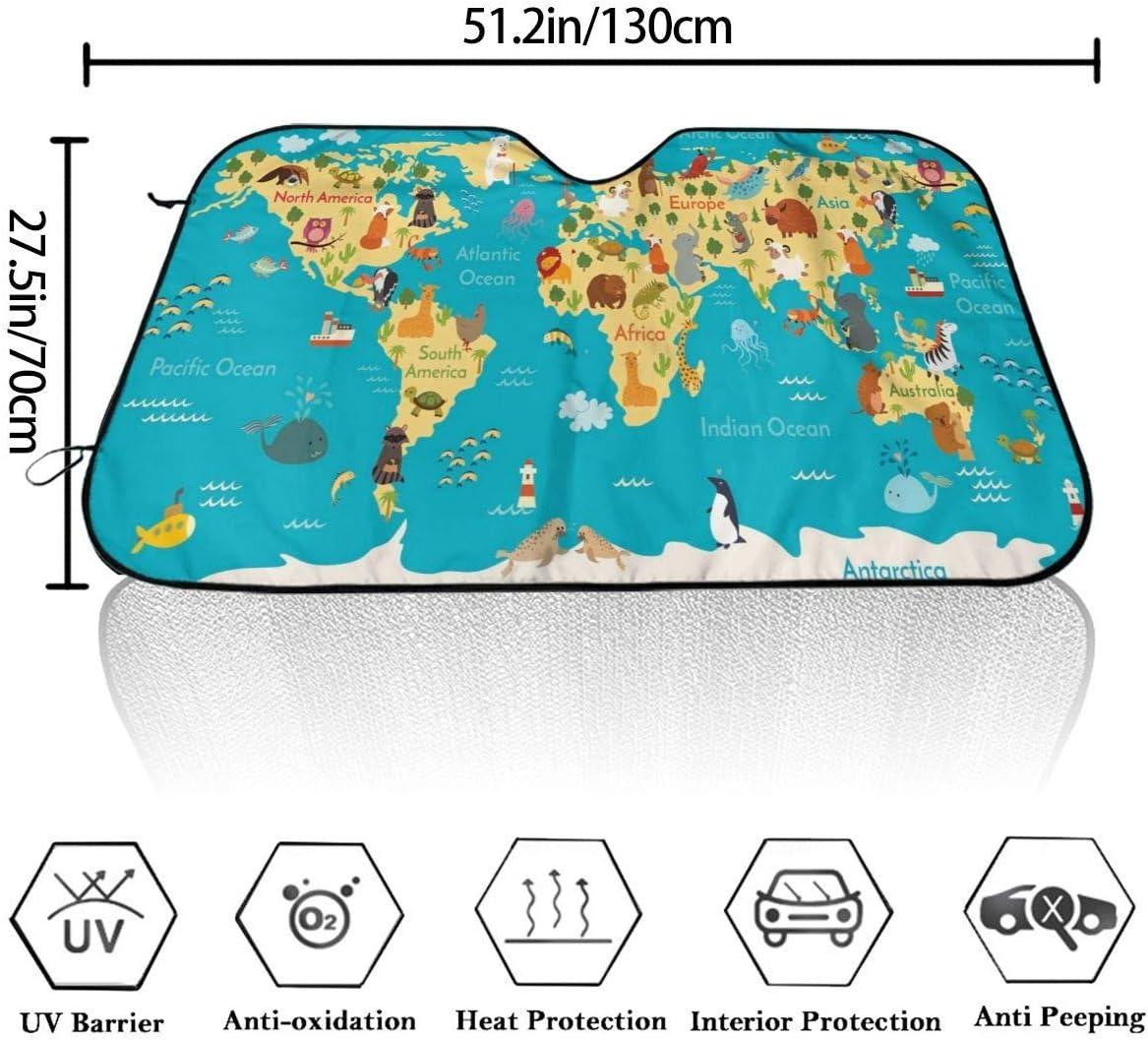 Visor Solar del Parabrisas Delantero del Mapa del Mundo Animal HHJJI Parasol del Parabrisas del autom/óvil Parasol Universal del Parabrisas automotriz proteja su autom/óvil del Calor y el Resplandor