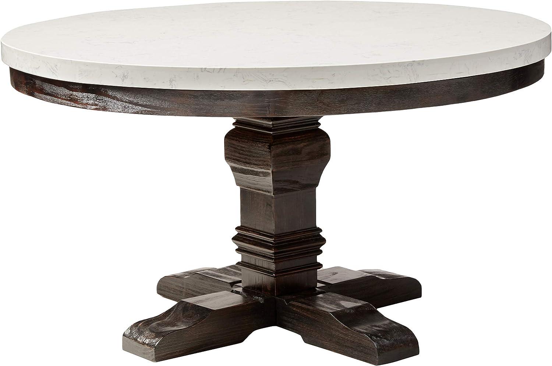Amazon Com Acme Nolan Dining Table W Pedestal White Marble Salvage Dark Oak Tables