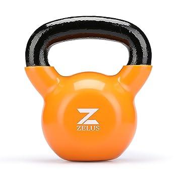 ZELUS Kettlebell oscilante Pesa rusa hecha de hierro fundido con revestimiento de vinilo ideal para el entrenamiento de fuerza Mancuerna para Musculación ...