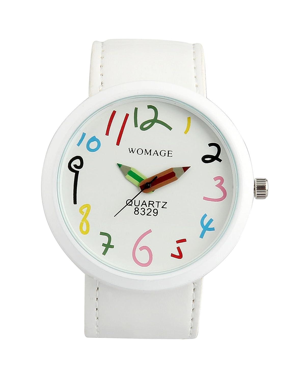 Amazon.com: ShoppeWatch Womens White Casual Fun Watch Big Face Unisex Leather Band Reloj Para DAMA SW8329WHWH: Watches