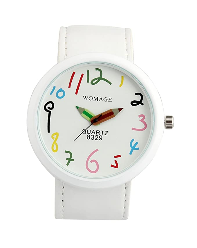 Amazon.com: ShoppeWatch Womens White Casual Fun Watch Big Face Unisex Leather Band Reloj Para DAMA SW8329WHWH: Watches