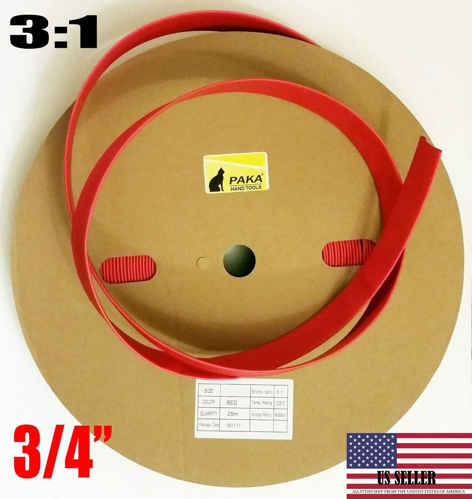 3/4'' Dual Wall Red Heat Shrink Tubing 3:1 Adhesive Glue Lined Tube (10 FEET)