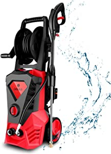 Vailsa 3500 PSI Electric Pressure Washer, 2.6GPM Professional High Pressure Power Washer, Portable Cleaner Machine with 5 Interchangeable Nozzles for Cleaning Cars, Deck, Home (Red)