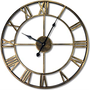24 inch Large Home Decor Wall Clock for Living Room Non Ticking Iron Art Clocks Roman Numeral,Retro Distressed Metal,Oversized (Gold)