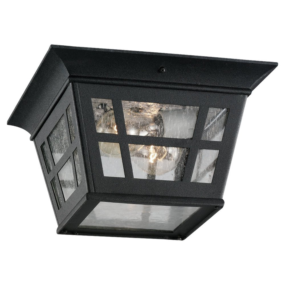 Sea Gull Lighting 78131-12 Herrington Two-Light Outdoor Flush Mount Ceiling Light, Black by Sea Gull Lighting (Image #1)