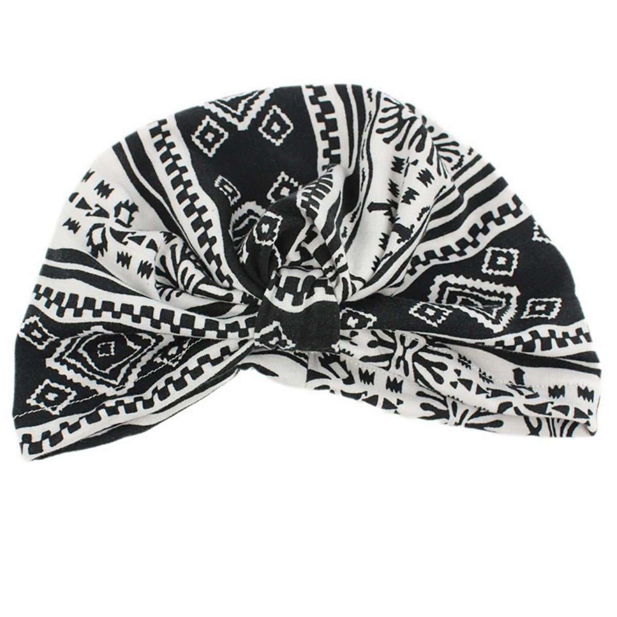 Qhome Vintage Floral Print Kids Turban Girls Cotton Hat